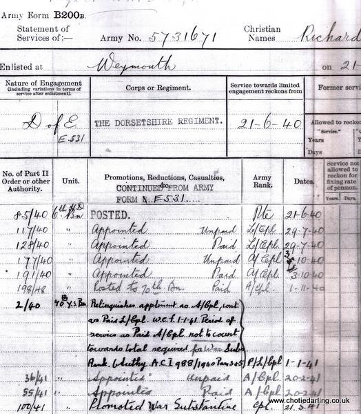 Service Record May 1941
