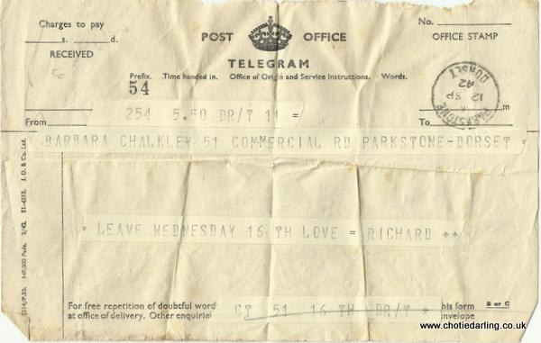Telegram 12th September 1942