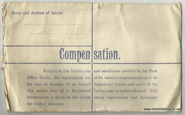 Registered post revers of envelope