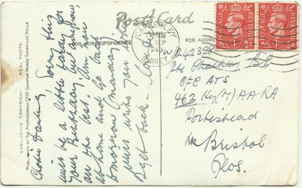 Pagham postcard reverse Sept 43