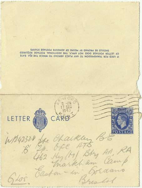 Letter Card Dec' 43 outside