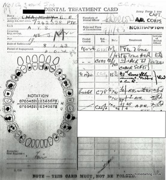 Chotie dental record 10th February 1944