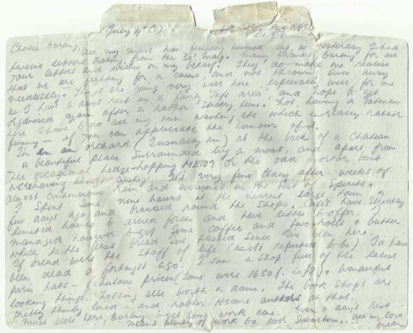 Letter form posted 6th July 1944 inside