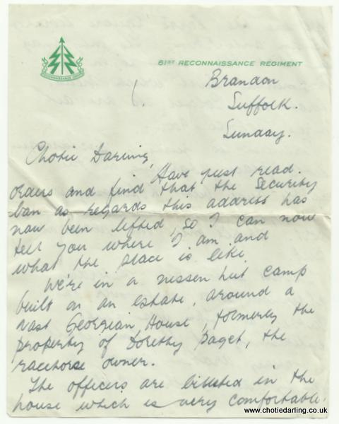 Letter on 61st Recce Regt paper  Jan 1st page