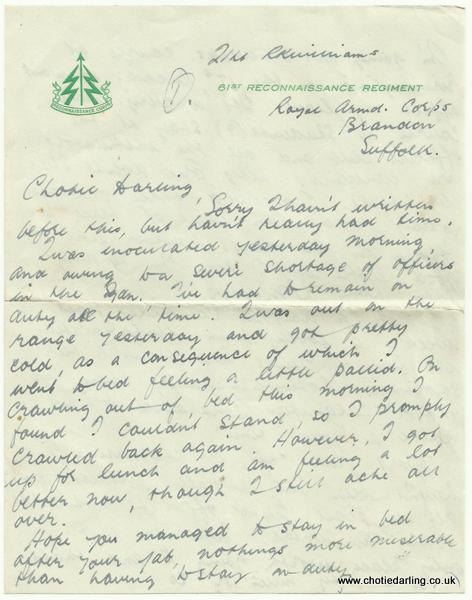 Letter on 61st Recce paper Feb