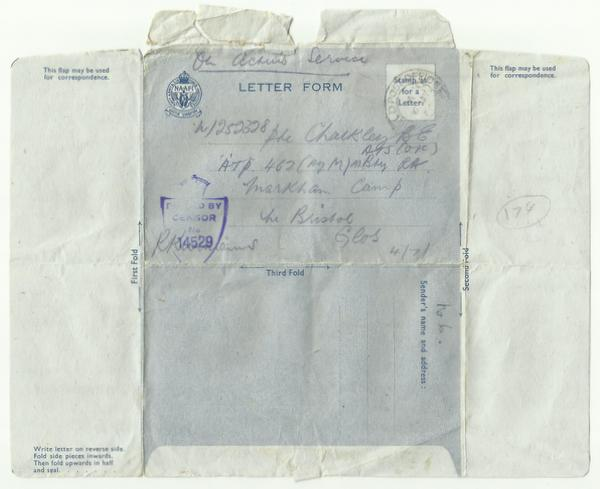 Letter form posted 6th July 1944 outside