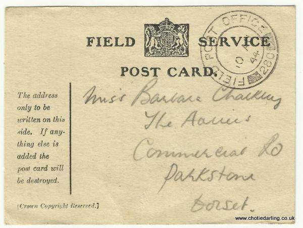 Field Service postcard sent 8th Aug 1944 front 001