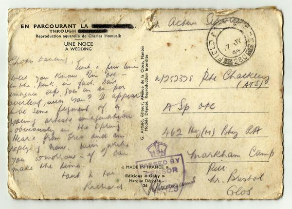 Postcard une noce back