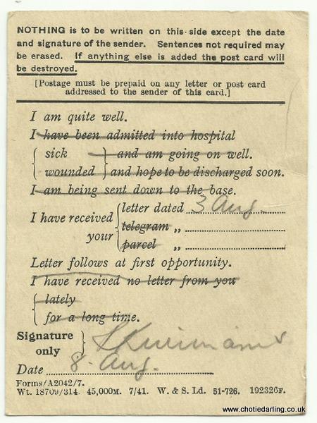 Field Service Postcard back 8th Aug 1944 001