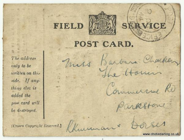 8th Oct 44 Field Service Postcard front