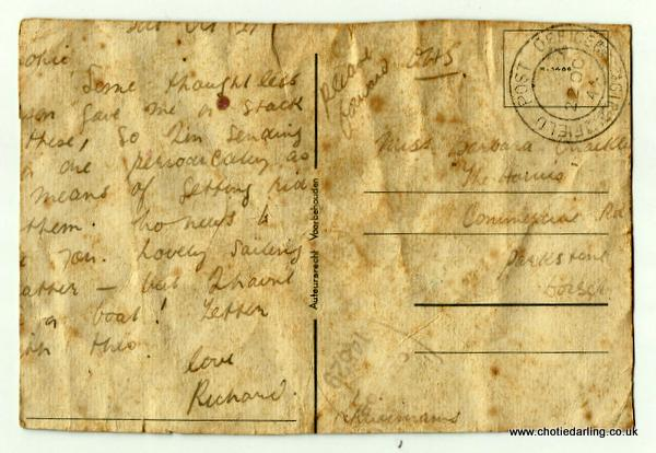 Postcard picking fruit written 21st Oct 44 back