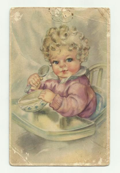 Postcard of baby 30th Oct 44 front