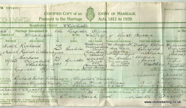 Dick and Chotie's marriage certificate