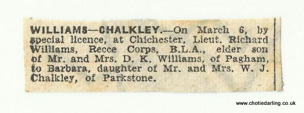 Newspaper announcement of wedding