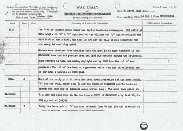 War Diary 61st Recce 1st to 3rd October 44