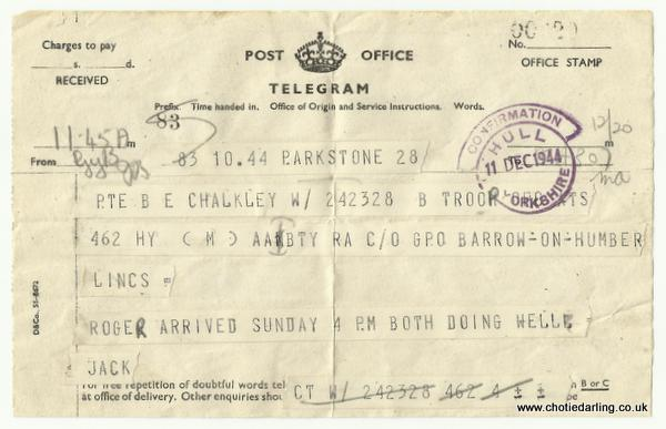 Telegram Roger's birth 11th December 44