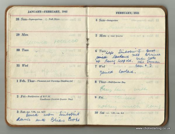 Dick's diary end of Jan and early Feb 1945