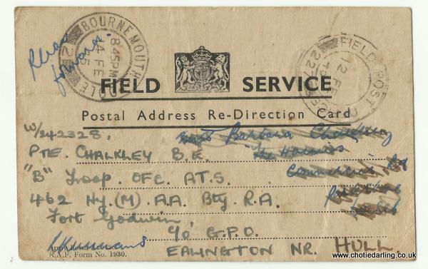Postal address re-direction card front Feb 45