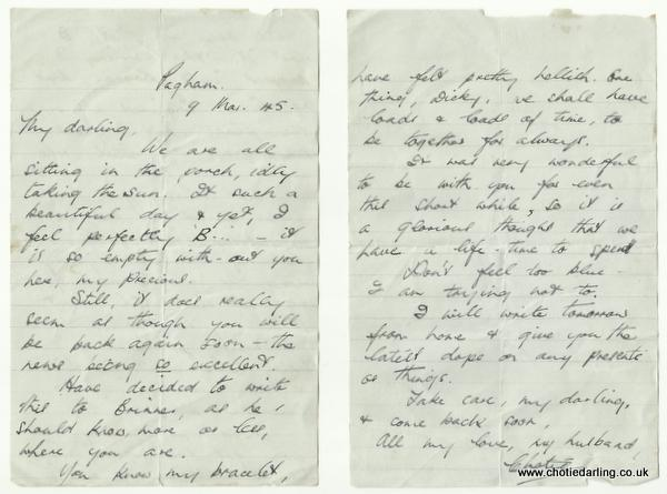 Chotie's letter to Dick 9th March 1945
