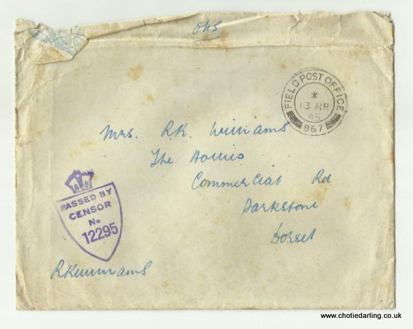 Envelope of Dick's letter 12th March 1945
