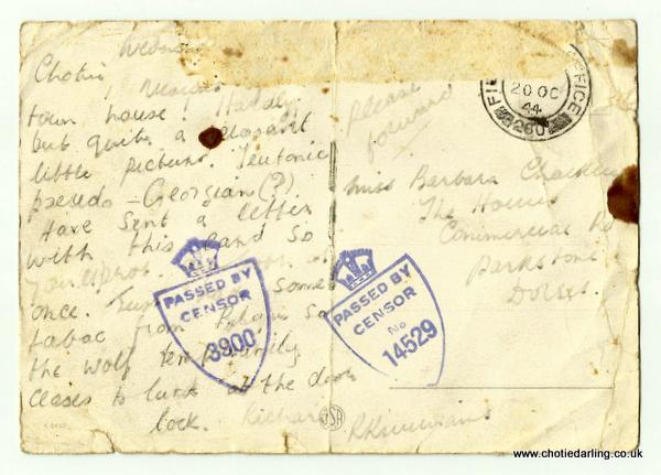 Postcard of bridge written 18th Oct 44 back
