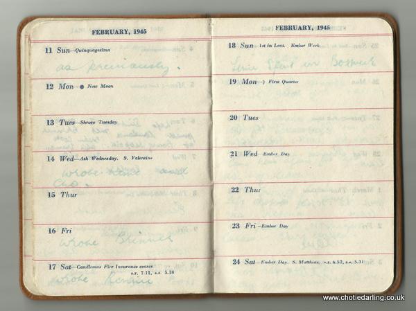 Dick's diary mid February 1945