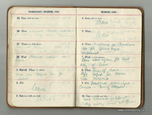 Dick's diary end of Feb and early March 1945