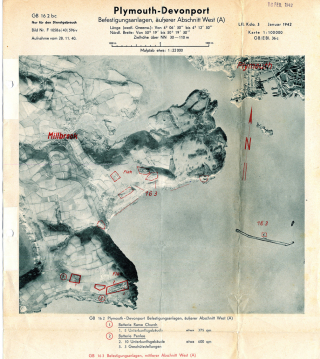 Luftwaffe map of Plymouth and Millbrook in January 1942